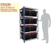 Ref: ZRB/18/09/06/5 Shelving Bay with 8 x PLAS52ALC (52 Litre) Attached Lid Containers