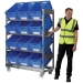 Mobile container shelf trolley with inclined shelves (sloped shelving)