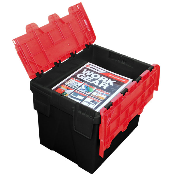Ref Plas24 Black Red Attached Lid Container 400 X 300 X
